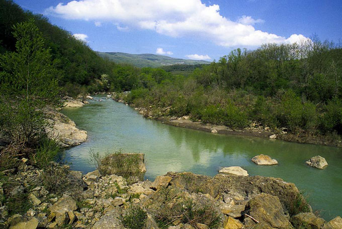 Paglia river at Monte Rufeno Natural Park