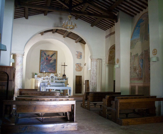 Interiors of San Michele Arcangelo in Fighine
